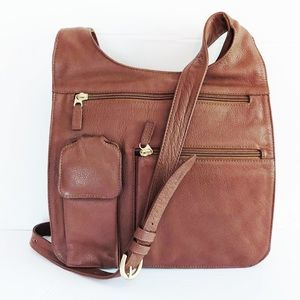 JP Ourse & Cie Brown Leather Crossbody Travel Bag